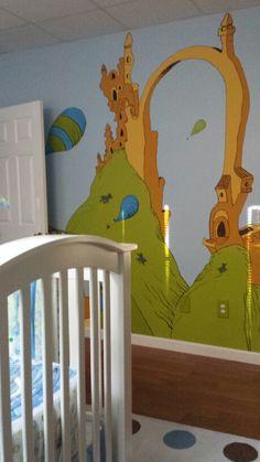 Dr seuss mural oh the places you 39 ll go children 39 s for Dr seuss nursery mural