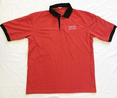 STAPLES EMPLOYEE POLO MENS BLACK RED WORK SHIRT Size L Large SHORT SLEEVE #staples