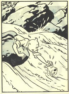 Hergé (1907 - 1983 Belgium ) - From L'Oreille Cassée, 1939 [I grew up with the polished redrawn color editions of the early Tintin books - those without Captain Haddock - but the original black & white versions have their own kind of visual beauty]