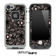 Black Floral Sprout Skin for the iPhone 4/4s or 5 LifeProof Case
