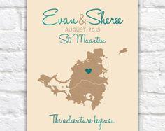 Destination Wedding Map, St. Maarten, Saint Martin, Caribbean Map of Island, Travel Map, Travel Quote, Adventure, Honeymoon, Anniversary