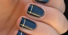 8 Elegant Thanksgiving Manicures | Navy Nails, Nails and Gold