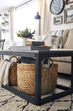 Get the Free Plans to build this Easy DIY Industrial Farmhouse Coffee Table. This is a quick build that is great for beginners!