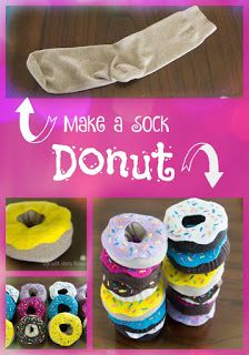 Adorable pretend donuts made from socks! A quick and easy craft that doubles as a cute decoration or a fun toy for kids. Made a cute donut headband too!