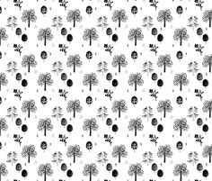 Scandinavian woodland forest fall watercolors illustration trees black and white fabric - surface design by Little Smilemakers on Spoonflower - custom fabric and wallpaper inspiration for kids clothes fun fashion and trendy home decorations.