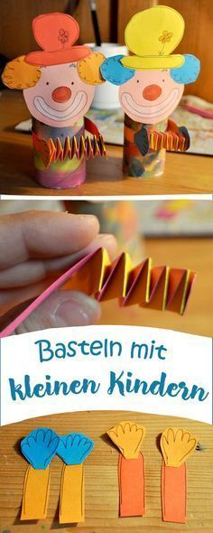 Bastelideen / DIY (basteln mit Kindern) Toilet rolls can also dress up. For example as clowns! Upcycled Crafts, Diy And Crafts, Arts And Crafts, Clowns, Diy For Kids, Crafts For Kids, Carnival Crafts, Clown Crafts, Diy 2019