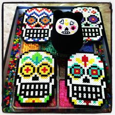 Sugar skulls perler beads by errieca