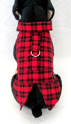 Red Black Plaid Flannel Coat Dog Harness Vest by TheWhitePeacock22
