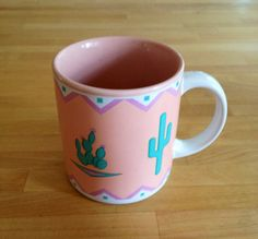 Peachy Keen Cactus Mug by TheDarlingBoutique on Etsy, $7.00