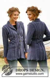 """Bluebird - Knitted DROPS jacket with cables in """"Karisma"""". Size: S to XXXL. - Free pattern by DROPS Design"""