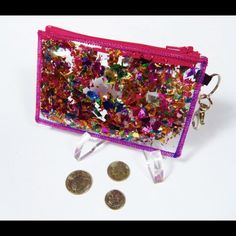 Glitter ID card holder keychain Used once, great condition, so unique, perfect for someone who loves bright colors Bags