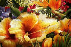 tropical flowers, Chinese silk embroidery