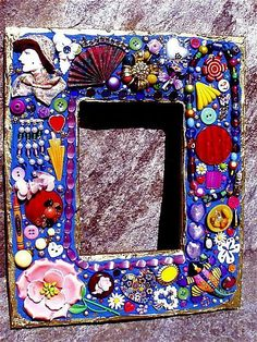 mosaic picture frame   Art: Vintage Jewelry Mosaic Photo Frame - Royal Blue (SOLD) by Artist ...