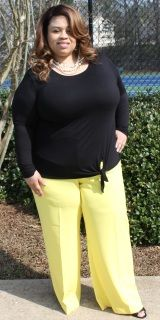 "Lane Bryant NWT Canary Yellow Dress Pants -Size 22  -Polyester and 13% spandex -Hips 28""/Inseam 32"" ​-Wide leg -Designer pockets -Note: minor signs of pulled material/not easily seen ​-Fashion forward"