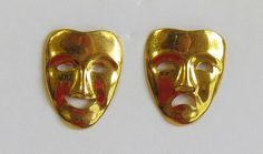 Drama mask earrings Gold tone joy and pain by Antiqueandsupplies
