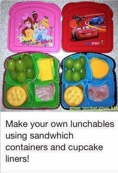 This is perfect for my daughter. Her allergies make it impossible for her to eat regular lunchables! Make your own lunchables in a sandwich box.Much healthier and cheaper than Oscar Mayer ones. Toddler Meals, Kids Meals, Toddler Food, Lunch Snacks, Healthy Snacks, Kid Snacks, Healthy Kids, Fruit Snacks, Eat Healthy