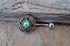 Opale nombril anneaux bijoux nombril Tribal opale noire