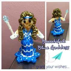 Rainbow Loom BLUE GODDESS. Designed and loomed by Autum Juliet from the Izzalicious princess tutorials. Posted on the ‎Rainbow Loom Obsession FB page - 07/12/14.