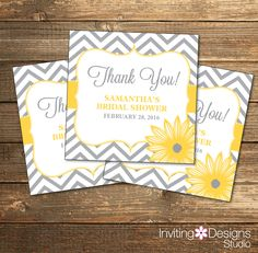 Chevron Bridal Shower Favor Tags / Wedding Shower Stickers / Yellow and Gray Flowers / PRINTABLE FILE by InvitingDesignStudio on Etsy