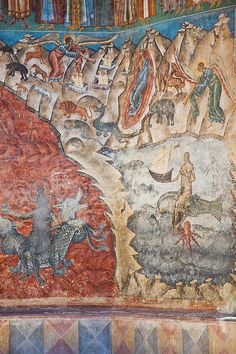 Detail of the Last Judgement mural at Voronet Painted Monastery in Romania. Romanian People, Vlad The Impaler, Carpathian Mountains, World Heritage Sites, Wonderful Places, Vintage World Maps, Places To Visit, Country, Medieval