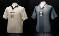We catalogue 50 years of kit history, with our favourite of Umbro's England Shirts and kits and run-downs of the technology they used. England Kit, England Football, Football Team, Mens Tops, Football Squads