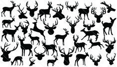 #Deer #Silhouette #Vector a total of 35 different silhouettes of deer, deer head and more in vector format.