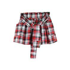 Plaid Shirt Skort Shorts (€38) ❤ liked on Polyvore featuring shorts, skirts, bottoms, shirts, camouflage shorts, plaid golf skirt, plaid skort, golf skirts and tartan shorts