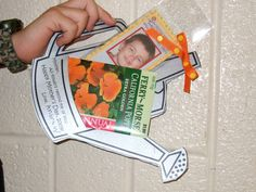 Watering can card w/ photo bookmark & seed packet I had my primary class make for their moms