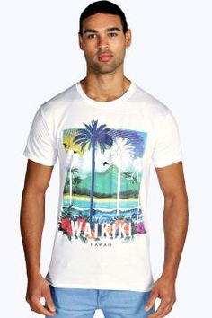 Watercolour Hawaii Printed T Shirt at boohoo.com
