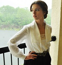 Another gorgeous pattern from Folkwear, their Armistice Blouse #210 made up in dotted Swiss.
