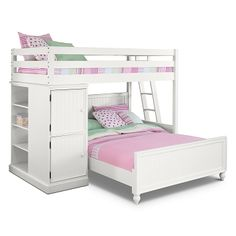 Colorworks White II Kids Furniture Loft Bed with Full Bed – Value City Furniture Source by dianadoub White Double Bed, White Loft Bed, Value City Furniture, Bedroom Furniture, White Furniture, Furniture Storage, Wooden Furniture, Couches, Decora Home
