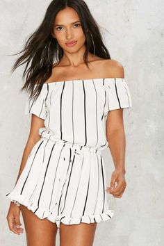 Somewhere Fast Off-the-Shoulder Romper - Rompers + Jumpsuits