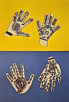 """Multicultural Art Project: """"Henna Hands"""" teaches kids about the use of henna, a traditional art form that has been practiced in India, areas of the Middle east, and parts of Africa for hundreds of"""