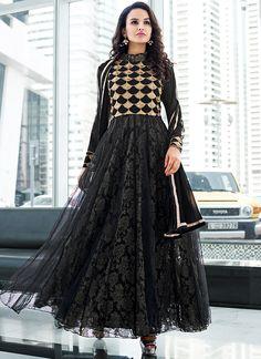 be9bc33a73 Winsome Black Net Anarkali Suit Buy Salwar Kameez Online