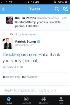 The reason I love Patrick so much is actually BECAUSE he's so relatable. Not mention he's sweet and cute and adorable and hot and polite and talented and just a person just like me.