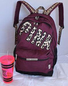 VICTORIA'S SECRET Backpack Bookbag Campus Bag . Maroon Waterproof. NWT