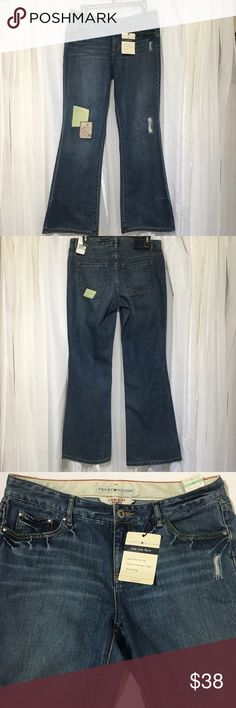 Tommy Hill figure low rise flare lawn party jeans Tommy Hilfiger low rise flare Lawn Party jeans. In my opinion I do not believe they're a true low rise see measurements below. Adorable patch detail in front and back as well as some distress stitching. I bought these jeans back in 2005 for $51.06. I had all the intentions the world to have them altered but just never did it. These jeans would be adorable for a summer music festival!! Waist 16 inches laying flat Rise 9 inches Inseam 32 inches…
