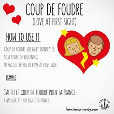 Learn French with this short lesson about love at first sight. Have you ever had… Learn French with this short lesson about love at first sight. Have you ever had a coup de foudre? Watch the funny sketc(…) French Slang, French Grammar, French Phrases, French Words, French Quotes, English Grammar, Learn French Beginner, Learn To Speak French, French For Beginners