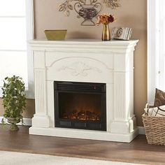 Gilbert Ivory Mantle 1500w Remote Electric Flame Firebox Space Heater Fireplace