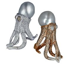 Jacob&Co Octopus rings in white and rose gold with diamonds and baroque pearls