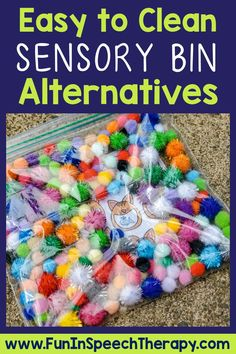 Check out this list of fun speech therapy sensory bin alternatives! They're easy to clean and can be used with new covid back to school procedures. These sensory activities are great for toddlers in preschool through upper elementary students. There are also free speech therapy activities included for fun sensory play ideas. Sensory Activities Toddlers, Sensory Bags, Sensory Bottles, Speech Therapy Activities, Speech Language Therapy, Sensory Play, Speech And Language, Expressive Language Disorder, Cleaning