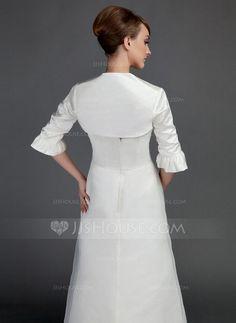 Half-Sleeve Satin Wedding Wrap (013015790) - JJsHouse