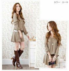 Amazon.co.jp: チュニックワンピース 深Uネックの長袖ニット フリー(M相当) ライトブラウン: 服&ファッション小物