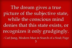 The dream gives a true picture of the subjective state, while the conscious mind denies that this state exists, or recognizes it only grudgingly.