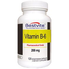 Vitamin B-6 200mg (120 Vegetarian Capsules) ** Visit the image link more details. (This is an Amazon Affiliate link and I receive a commission for the sales)