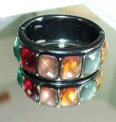 Large Black Bakelite / Thermoset Hinged Bangle Bracelet w/Faceted Rhinestones | eBay