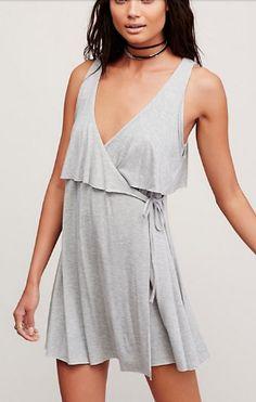 pretty grey flowing dress