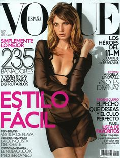 Angela Lindvall featured on the Vogue Spain cover from May 2004