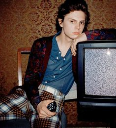 Evan Peters in Marc Jacbos Fall '15 in Nylon September 2015