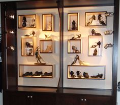 "How do you display shoes in your store? Gabie's Boutique built this custom cabinet to display ballroom shoes. ""When we got the new display case, people were surprised by our prices, thinking the shoes should cost a lot more than what we were asking,"" says the store's manager, Amy Ross.    Read ""Creative Shoe Displays"" in the September issue of DRN to see even more unique displays."